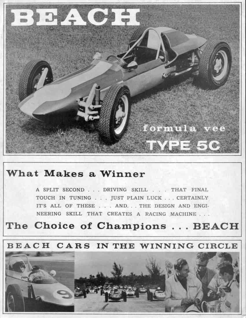 Beach Formula Vee Spec Sheets